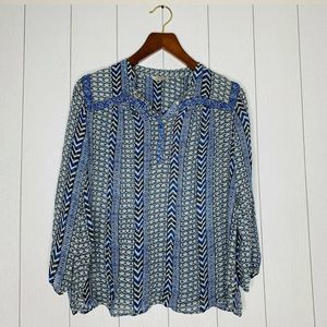 Lucky Brand Womens Size 2X Plus Blue Sheer Top